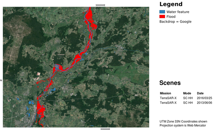 Automatic change detection between 2 scenes to extract normal water and flood water extent using TerraSAR-X imagery